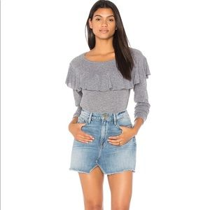 Nation LTD long sleeve gray ruffle top size Large